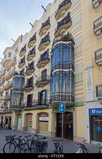 Art nouveau building,  Carrer Gran de Gràcia 12,  Barcelona,  Catalonia,  Spain.